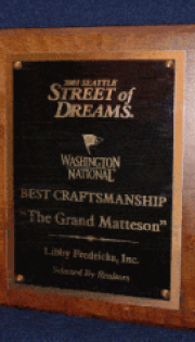 Best Craftmanship, Best Landscaping, Best Master Suite.
